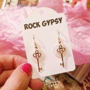 Rock Gypsy rose gold key earrings